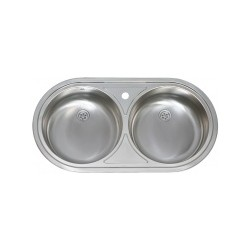 Evier Inox, 2 bacs ronds, Encastrable 84x44