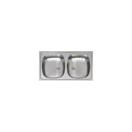 Evier Inox, 2 bacs, Encastrable 80x45