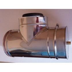 Té avec bouchon de vidage INOX isolé double paroi diam 120