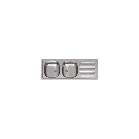 Evier Inox, 2 bacs, Encastrable 120x45